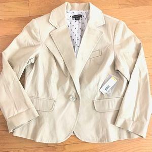 NWT $50 Metaphor Sateen Suit Jacket, Khaki Tan, 12